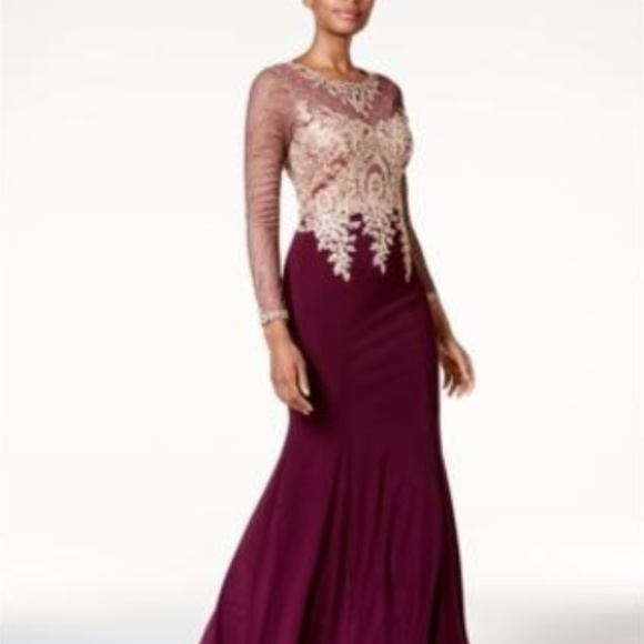 48297fb484f3d Xscape Dresses | Embroidered Mesh Mermaid Gown Winegold | Poshmark
